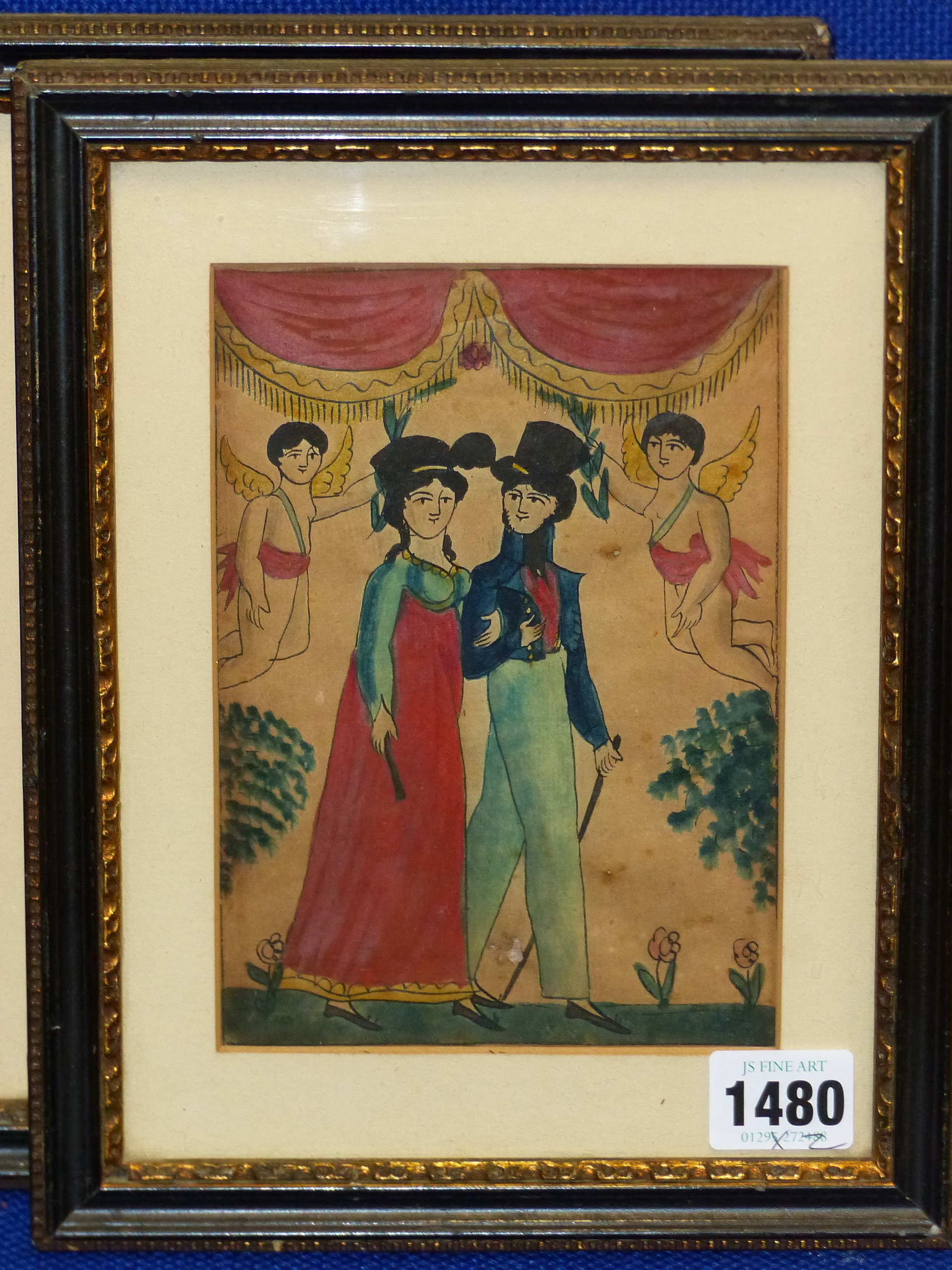 EARLY 19th C. NAIVE SCHOOL. A PAIR OF PORTRAITS OF COURTING COUPLES. WATERCOLOUR 17 x 12cm - Image 5 of 6