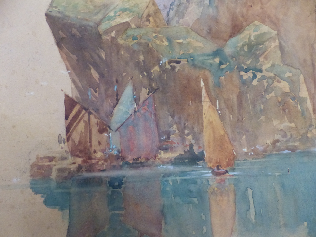 HARRY ROUNTREE (1878 - 1950) A RIVER VIEW, SIGNED WATERCOLOUR UNFRAMED 38.5 x 55cm - Image 3 of 4