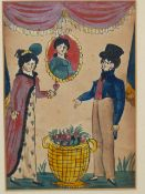 EARLY 19th C. NAIVE SCHOOL. A PAIR OF PORTRAITS OF COURTING COUPLES. WATERCOLOUR 17 x 12cm