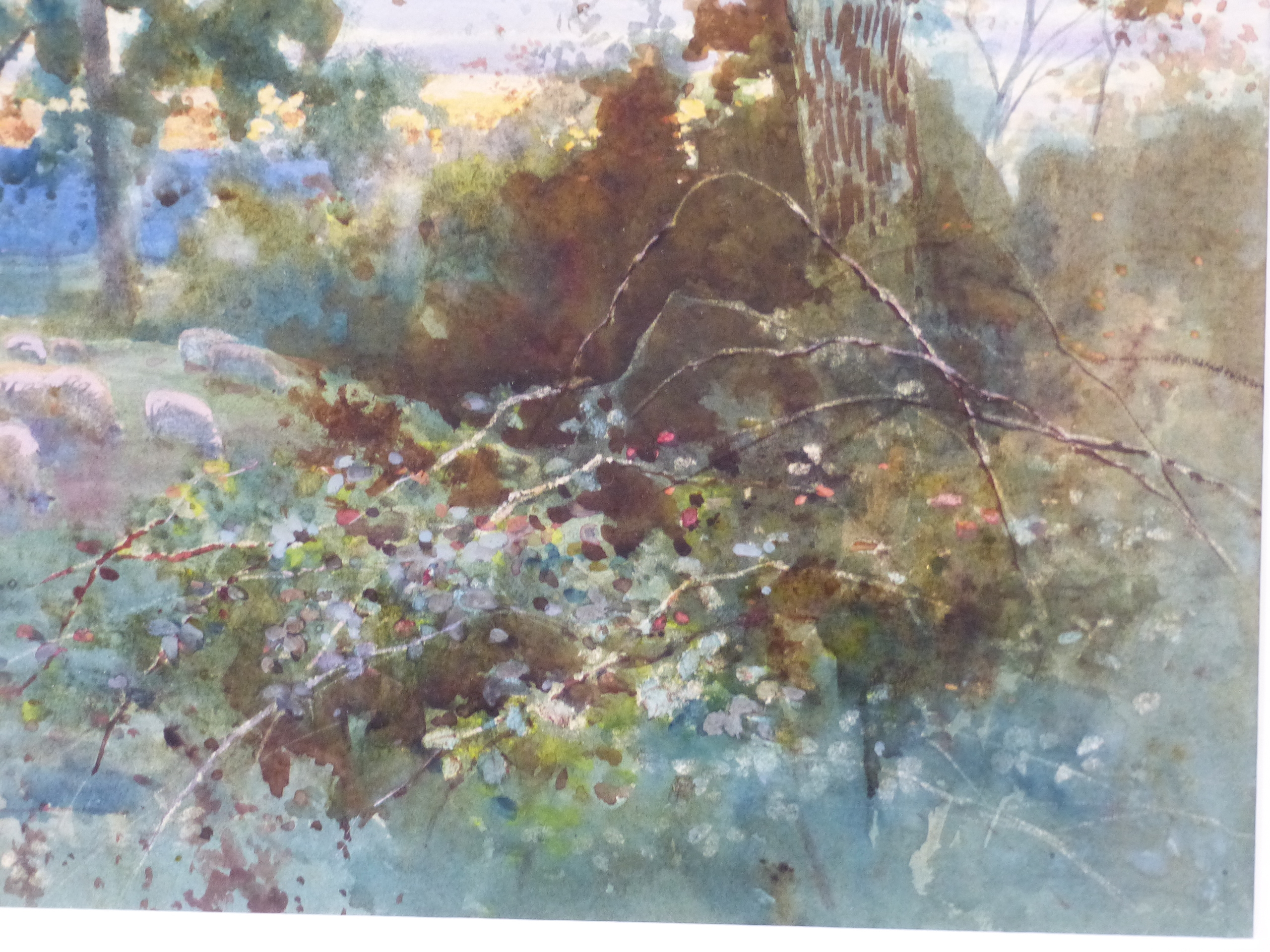 WILLIAM MATHISON (1853 - 1926) SHEEP IN THE WATER MEADOW. SIGNED WATERCOLOUR 48 x 72cm - Image 4 of 21