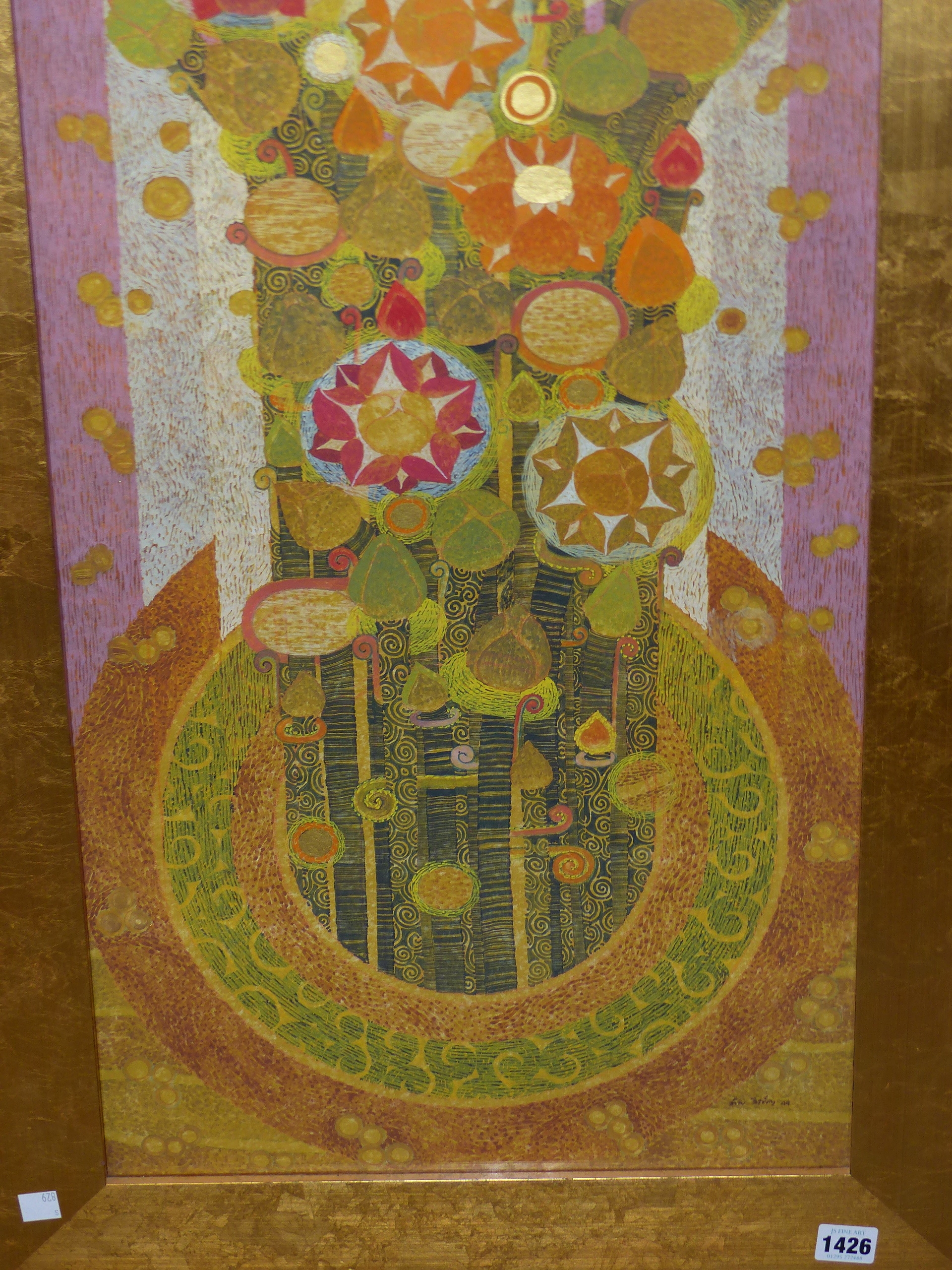 20th CENTURY EASTERN SCHOOL. A GEOMETRIC FLORAL ABSTRACTION WITH GILT HIGHLIGHTS AND WATERCOLOUR, - Image 5 of 8