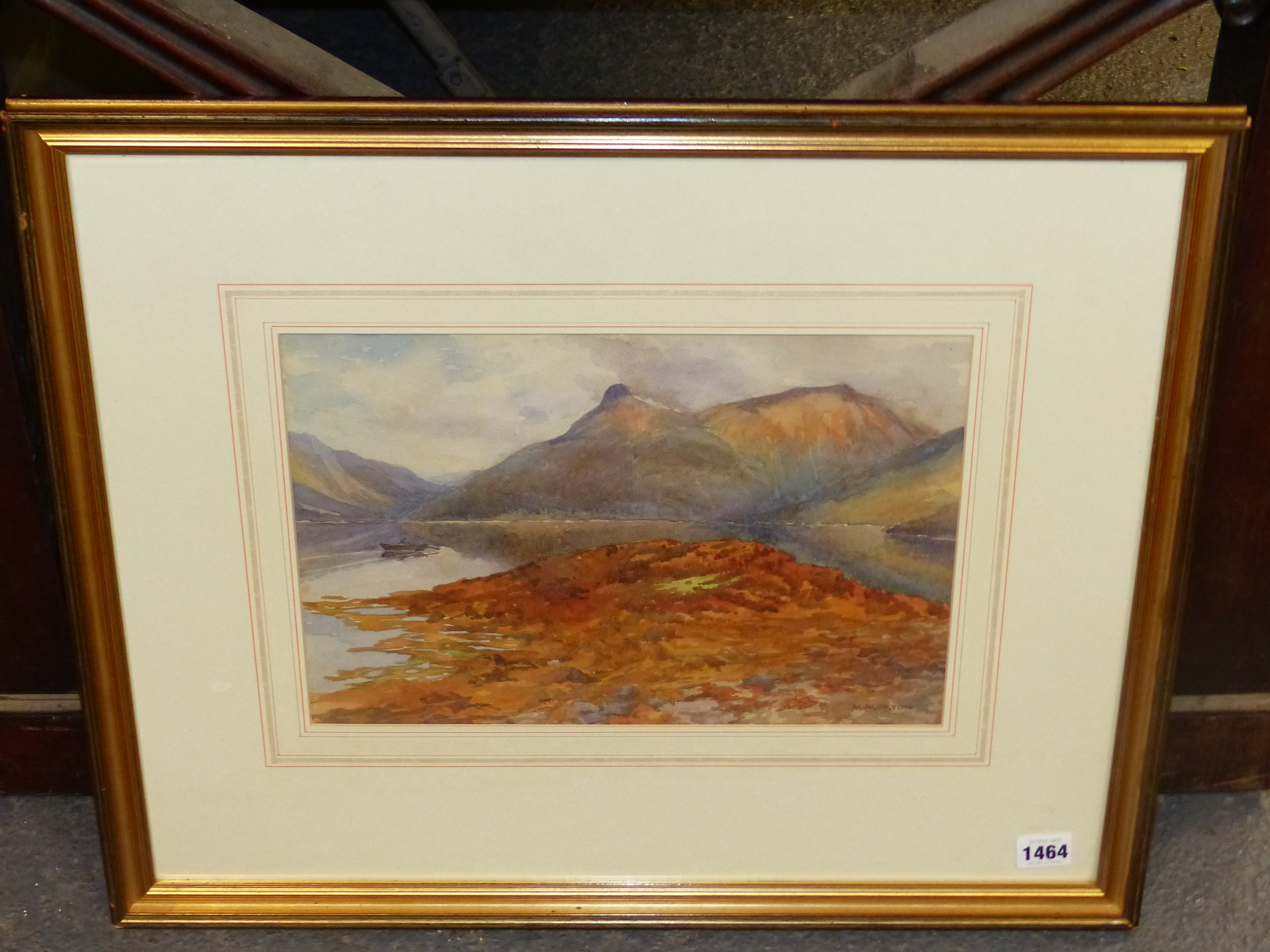 MARY MORTON (EARLY 20th C. ENGLISH SCHOOL) A HIGHLAND LAKE VIEW, SIGNED WATERCOLOUR. 24 x 35cms - Image 3 of 7
