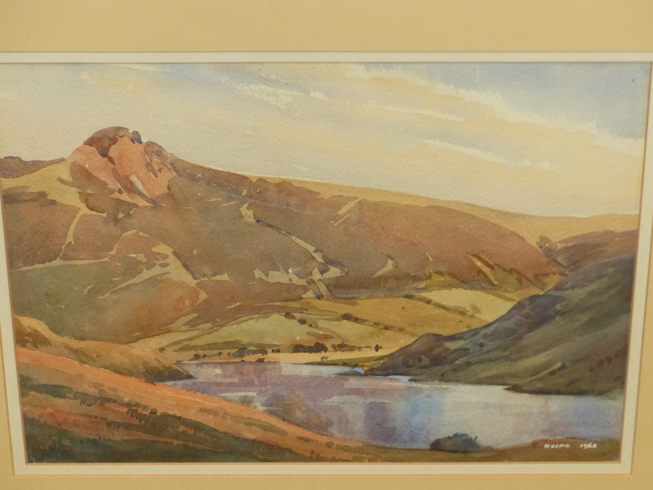 ROOPE? (20th CENTURY SCHOOL). A HIGHLAND LAKE LANDSCAPE, WATERCOLOUR, SIGNED AND DATED, 26 x 35cms.