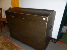 A LARGE VICTORIAN PAINTED PINE DOME TOP BLANKET CHEST. W 107 X D 60 X H 89cms.