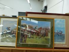 TWO COLOUR PRINTS OF HORSE RACING SUBJECTS AFTER MUNNINGS, TOGETHER WITH ANOTHER BY A DIFFERENT HA
