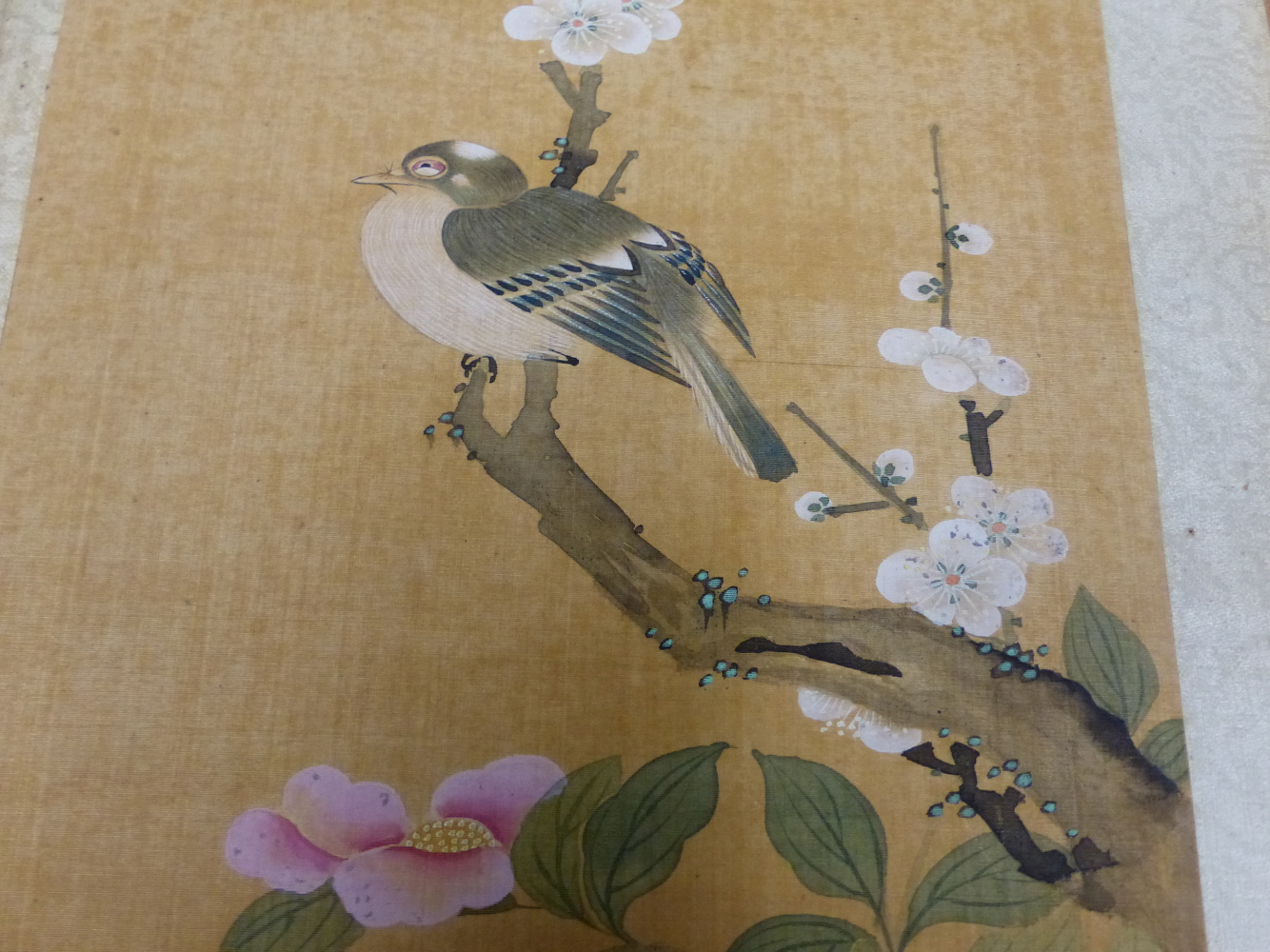 A CHINESE CONCERTINA BOOK OF EIGHT WATERCOLOURS ON SILK PAINTED WITH FLOWERS, BIRDS AND BUTTERFLIES, - Image 19 of 22