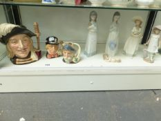 FOUR NAO FIGURINES AND ONE LLADRO EXAMPLE, TOGETHER WITH THREE ROYAL DOULTON CHARTER JUGS.