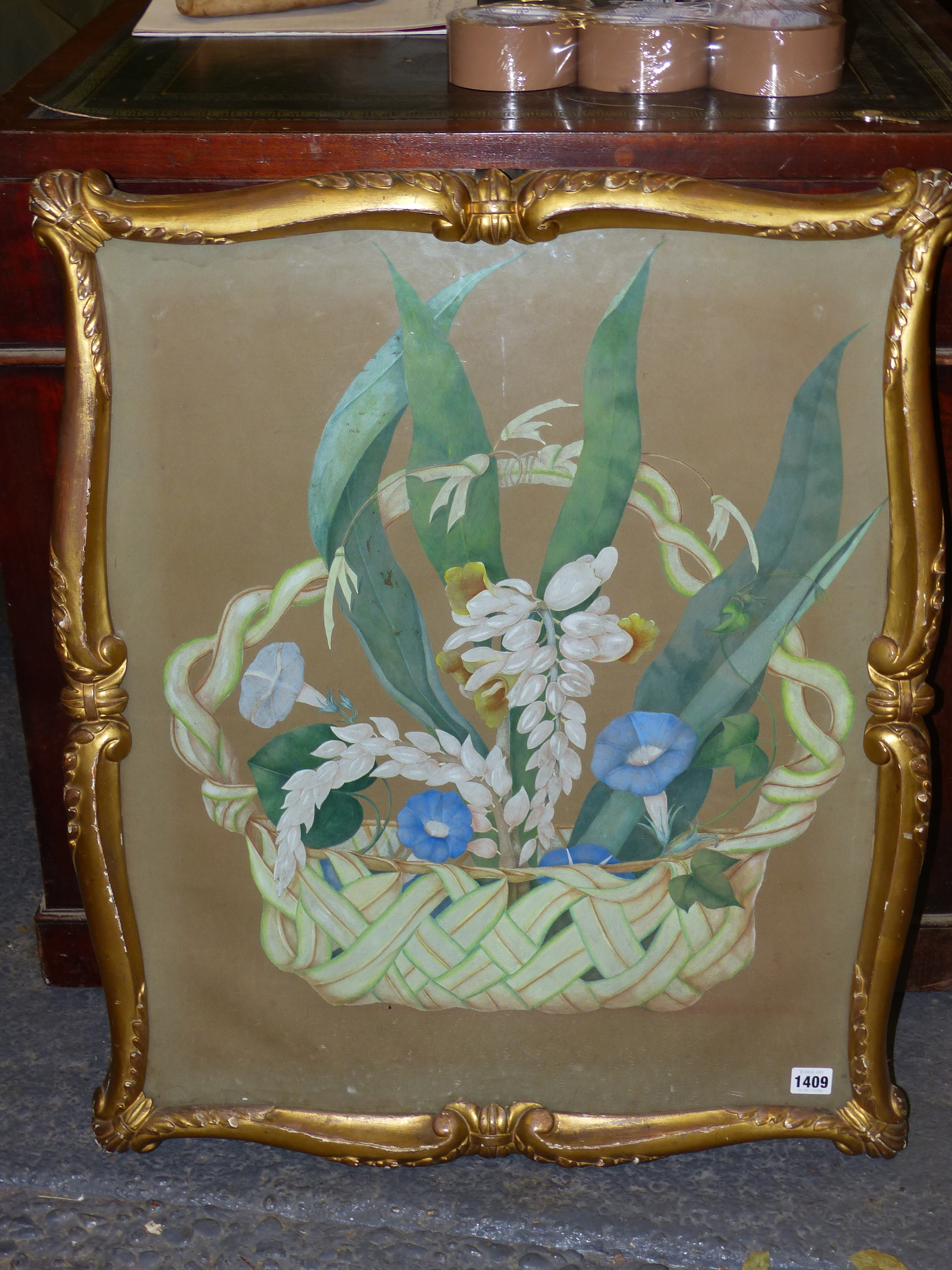 19th CENTURY SCHOOL. A BASKET OF FLOWERS, WATERCOLOUR. SHAPED CARVED GILTWOOD FRAME. IMAGE 66 x