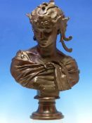 ANTOINE MERCIE, HIS 1871 BUST OF DALILA WEARING A WINGED HEAD DRESS AND CRESCENT PENDANT AT THE