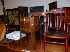 A CHILDS ELBOW CHAIR, COPPER BOUND OAK PLANTER, FOOTSTOOL, STANDARD LAMP AND A PINE CORNER CUPBOARD