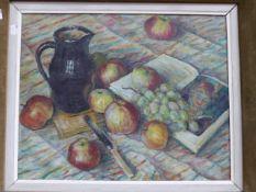 CATHERINE MORITZ (20th C. SCHOOL) ARR STILL LIFE WITH APPLES, OIL ON BOARD 41 x 51 cm