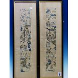 A PAIR OF CHINESE CREAM SILK SLEEVE PANELS EMBROIDERED WITH LADIES AND CHILDREN IN AND ABOUT