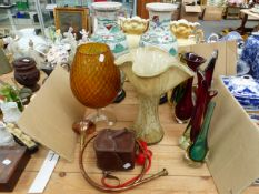 FIVE ART GLASS VASES, A PAIR OF ORIENTAL LARGE VASES, A CAMERA, AND A HUNTING HORN.