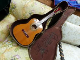 A LORENZO MODEL N GUITAR AND A VINTAGE CASE.