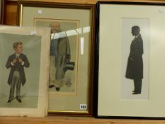 FOUR FRAMED VINTAGE VANITY FAIR PRINTS OF GENTLEMAN TOGETHER WITH FOUR UNFRAMED EXAMPLES AND TWO