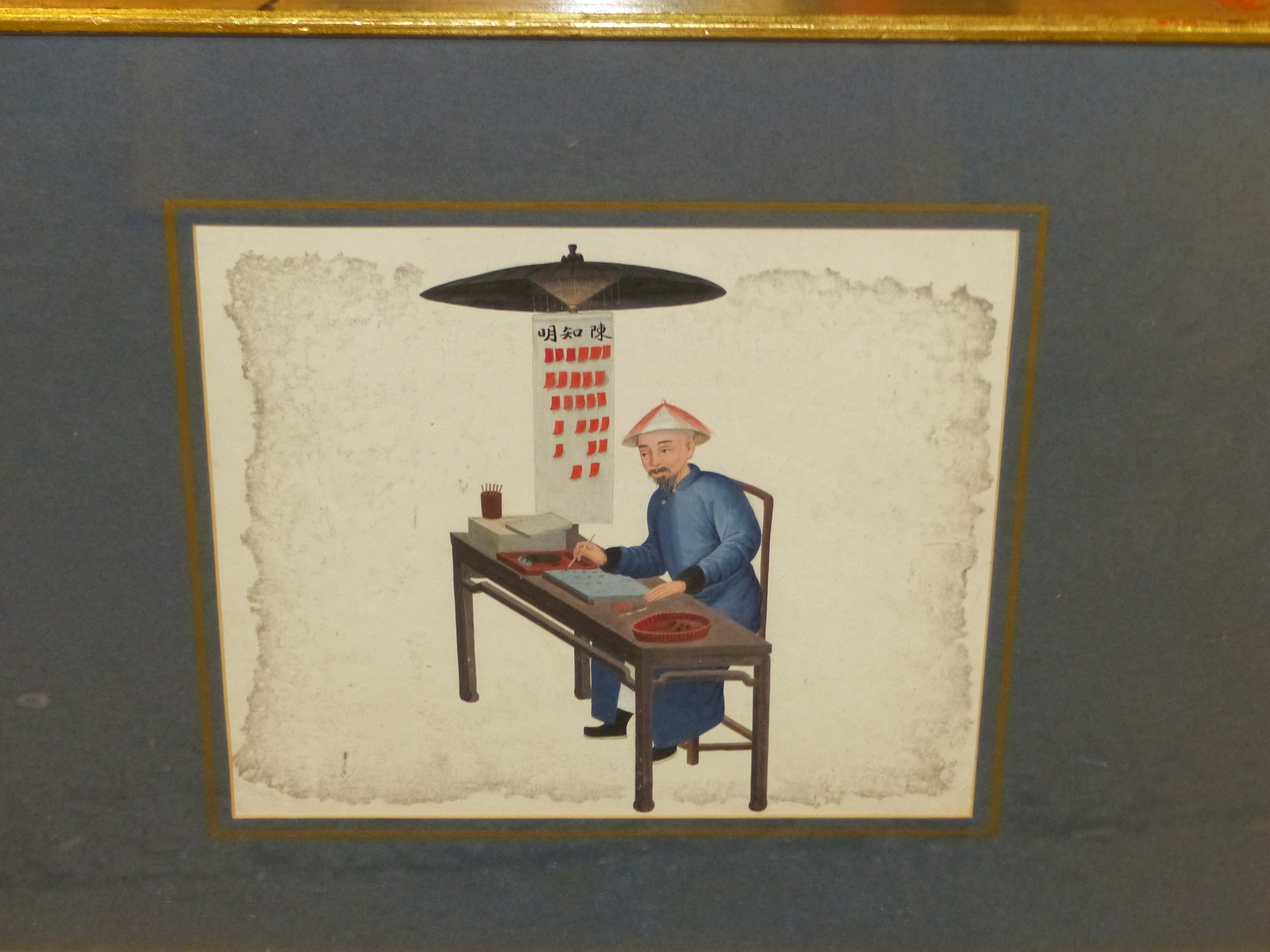 TWO GILT FRAMED CHINESE WATERCOLOURS, ONE OF A MAN SEATED AT A TABLE WRITING, THE OTHER OF A MAN - Image 4 of 5
