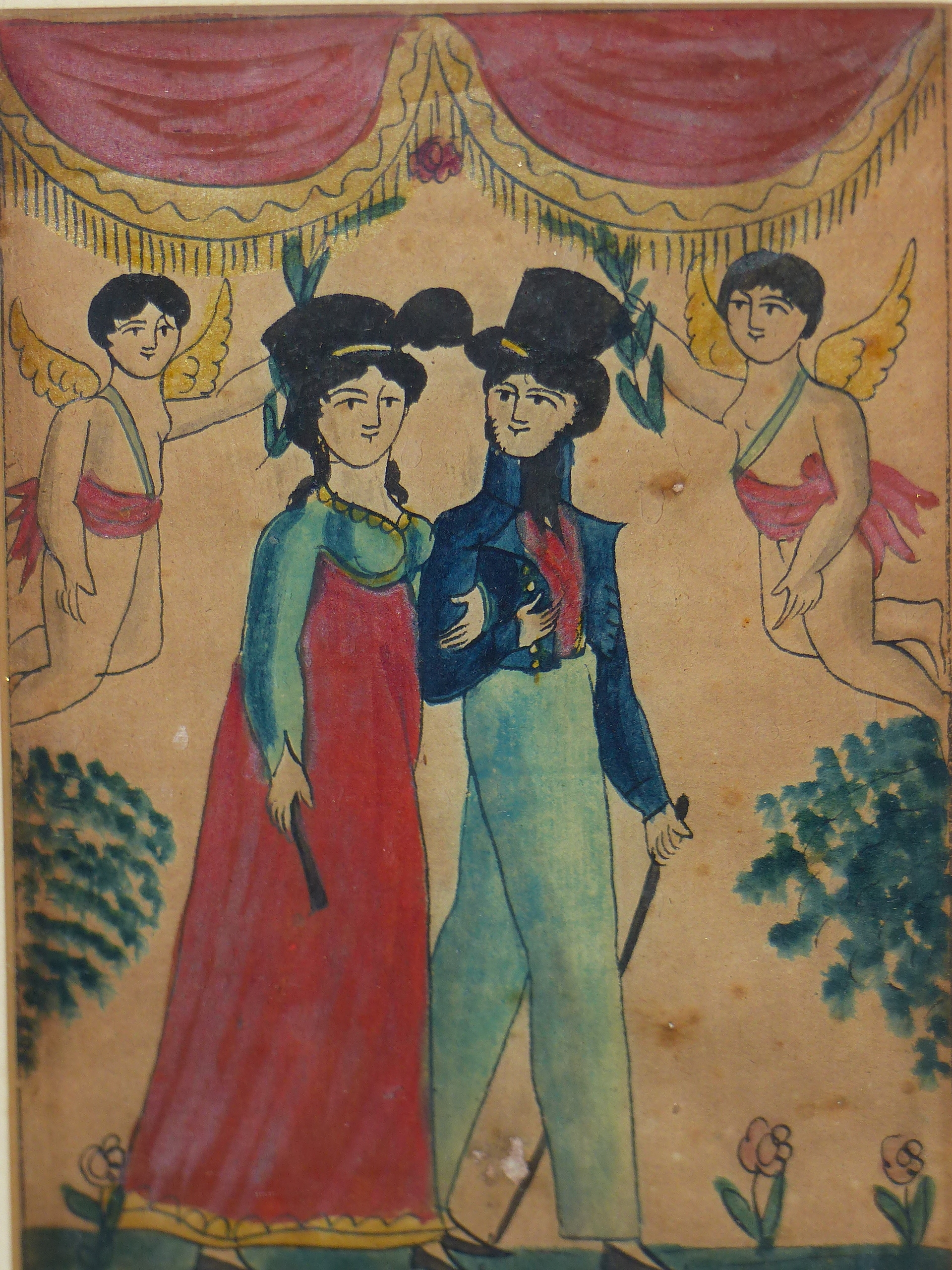 EARLY 19th C. NAIVE SCHOOL. A PAIR OF PORTRAITS OF COURTING COUPLES. WATERCOLOUR 17 x 12cm - Image 4 of 6