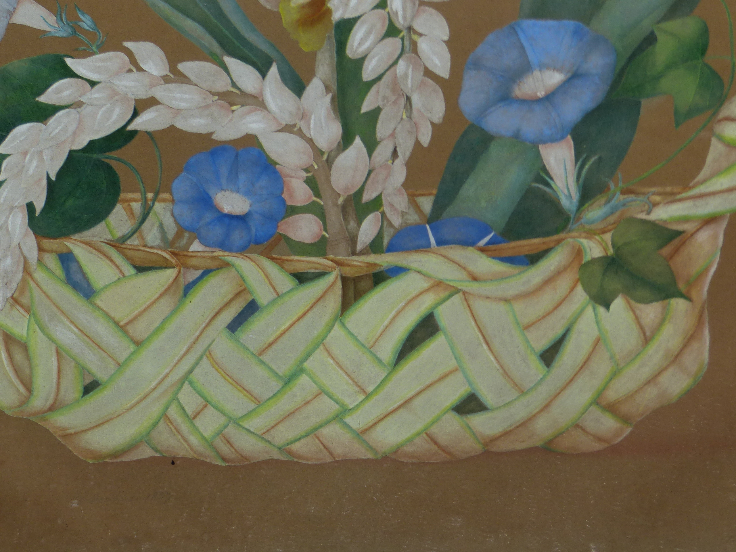 19th CENTURY SCHOOL. A BASKET OF FLOWERS, WATERCOLOUR. SHAPED CARVED GILTWOOD FRAME. IMAGE 66 x - Image 3 of 7