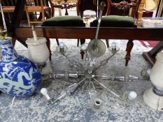 A RETRO CUT BACCARAT GLASS AND CHROME CHANDELIERA PAIR OF PAINTED WOOD TABLE LAMPS, AN ORIENTAL