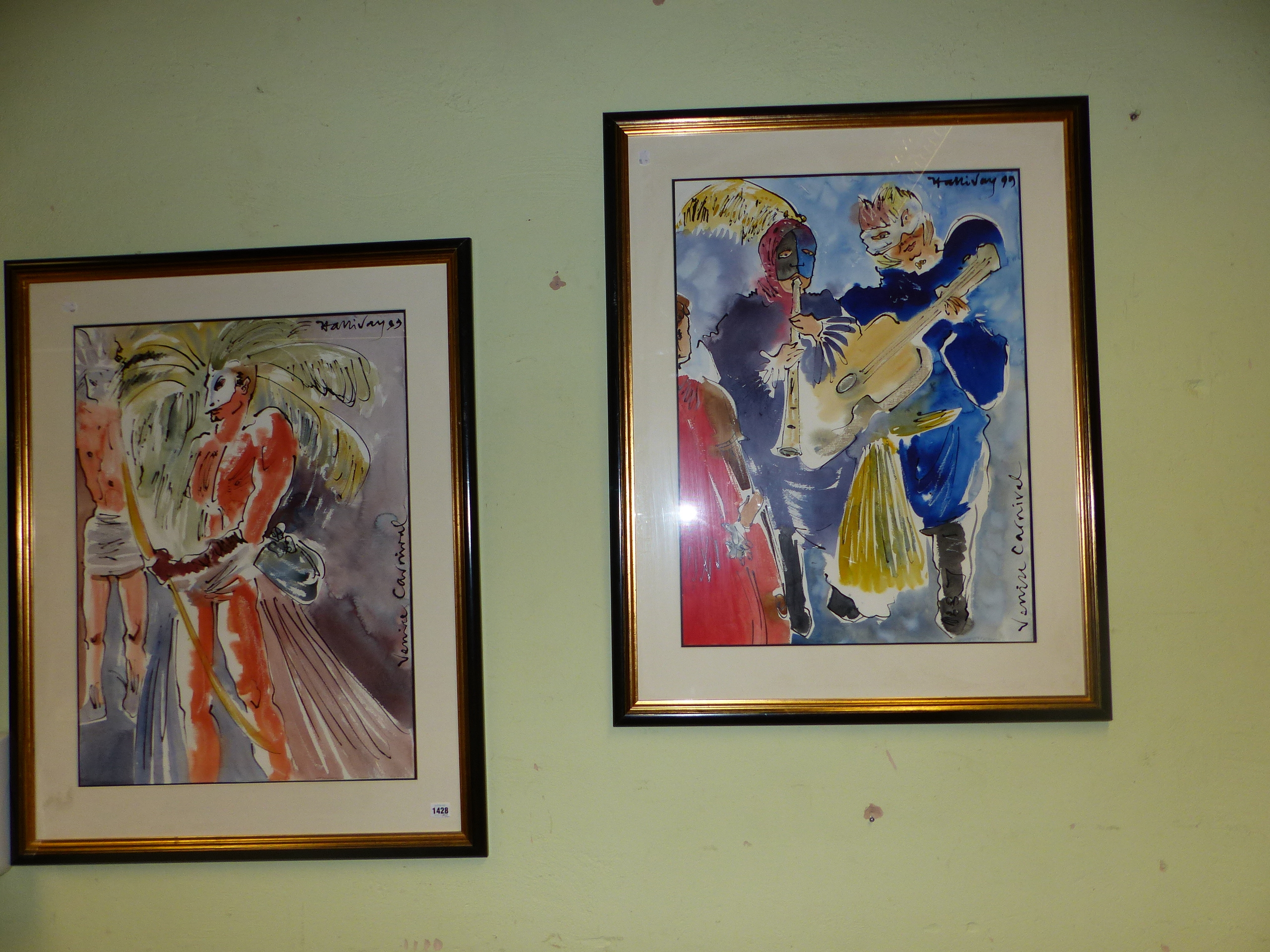 CONTEMPORARY SCHOOL. A PAIR OF COSTUME STUDIES OF FIGURES IN THE VENETIAN CARNIVAL, SIGNED - Image 5 of 5