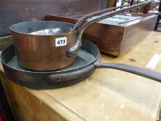THREE VINTAGE COPPER COOKING PANS.