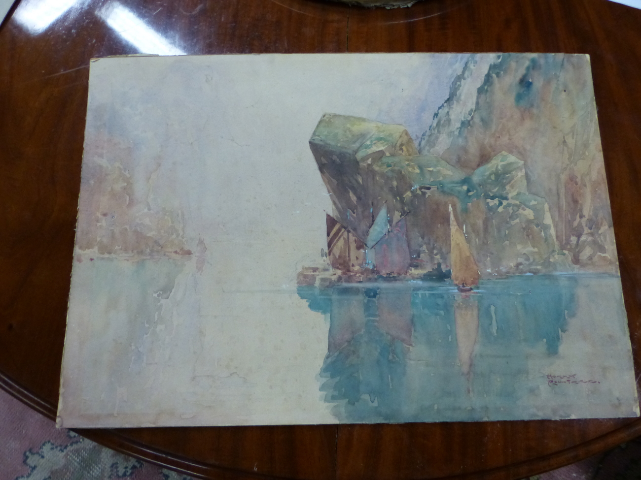 HARRY ROUNTREE (1878 - 1950) A RIVER VIEW, SIGNED WATERCOLOUR UNFRAMED 38.5 x 55cm - Image 4 of 4