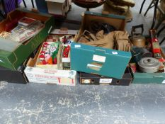FIVE BOXES OF VARIOUS COLLECTABLES, TO INCLUDE A VINTAGE KYL FYRE FIRE EXTINGUISHER, VINTAGE