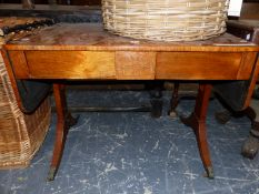 A REGENCY MARQUETRIED ROSEWOOD TWO DRAWER SOFA TABLE ON BRASS FOLIATE CAPPED CASTER FEET. W 94 x
