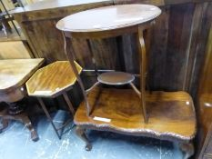 A MAHOGANY OVAL TWO TIER TABLE, A SATIN WOOD CROSSBANDED MAHOGANY OCTAGONAL TABLE AND A SHAPED