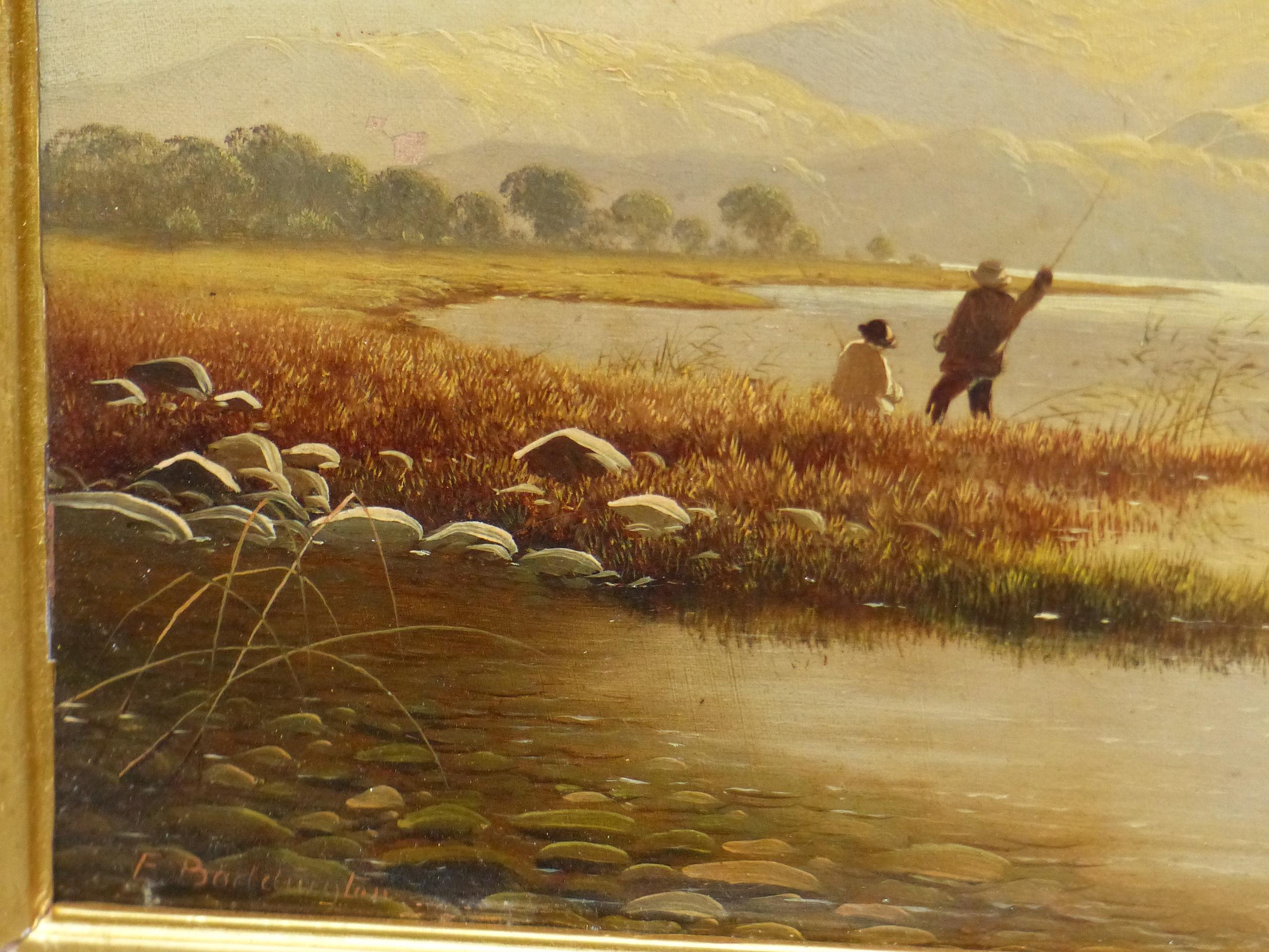 EDWIN BODDINGTON (1836 - 1905) A WELSH LANDSCAPE, OIL ON CANVAS, LABEL VERSO 30 x 56 cm - Image 4 of 9