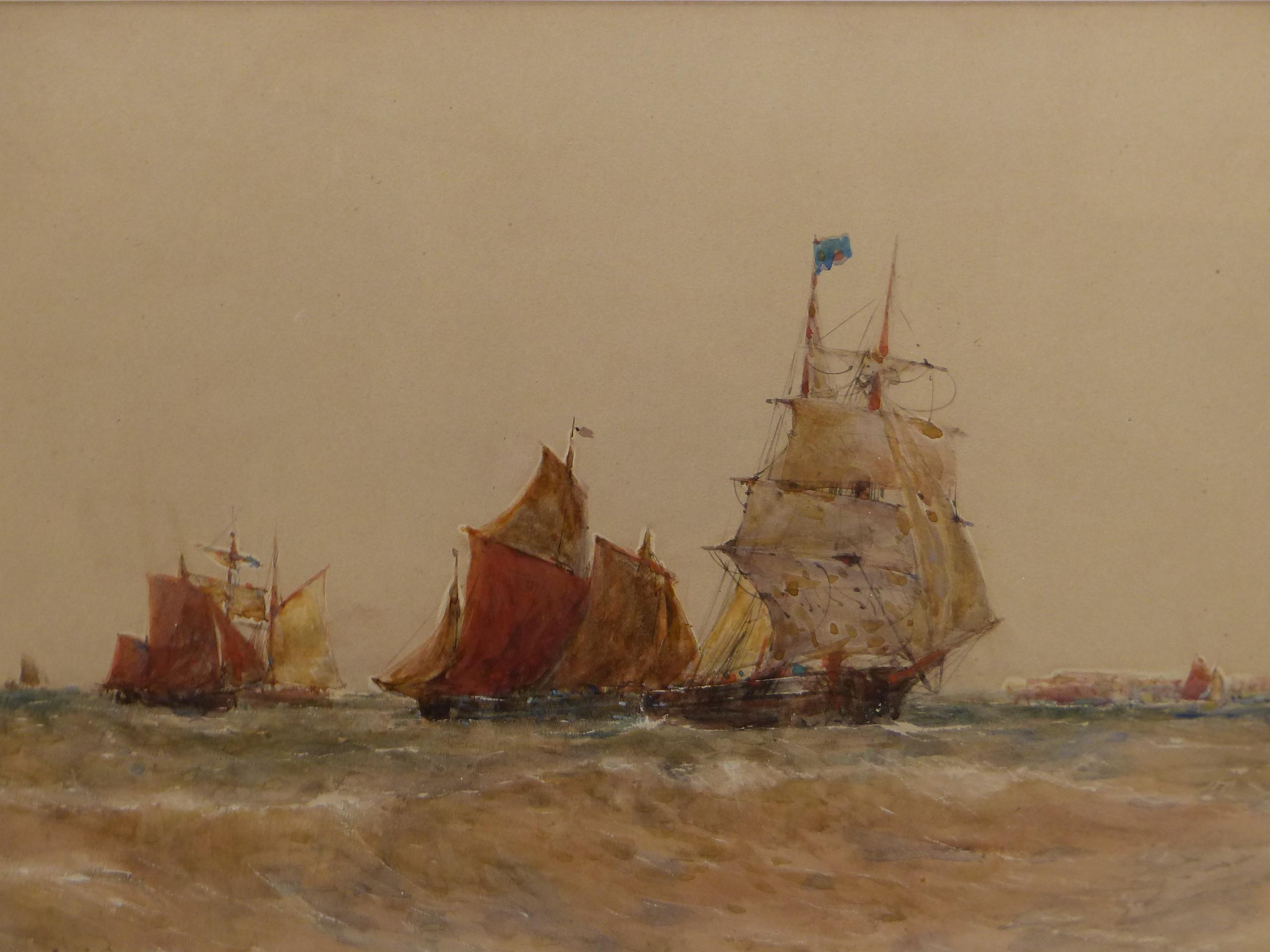 THOMAS BUSH HARDY (1842 - 1897). SHIPPING OFF CALAIS, SIGNED WATERCOLOUR, 40 x 68cms.