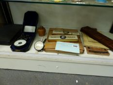 A VINTAGE BOXED REVOLUTION COUNTER, MICROMETER, TWO BOXES STAEDTLER MARS PENCILS, A CRIBBAGE BOARD