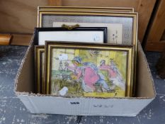 TWO RIBALD CARICATURE PICTURES TOGETHER WITH TWO ORIENTAL PICTURES ETC, SIZES VARY