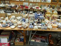 A QUANTITY OF VARIOUS VICTORIAN AND LATER CHINA WARES TO INCLUDE BLUE AND WHITE, TEAPOTS, MASONS