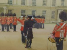 D.J CURTIS (1948 - ) ARR. GUARD MOUNTING AT WELLINGTON BARRACKS. SIGNED WATERCOLOUR GALLERY LABEL