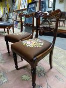 A SET OF EIGHT ROSEWOOD WILLIAM IV DINING CHAIRS, EACH WITH YOKE SHAPED TOP RAIL, FOLIATE HORIZONTAL