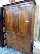A 19th C. MAHOGANY LINEN PRESS, THE LINE INLAID DOORS ENCLOSING FIVE SLIDES, THE BASE WITH TWO SHORT