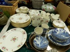 A MINTONS MARLOW PATTERN PART COFFEE AND DINNER SERVICE, A PLATED TRAY ETC.