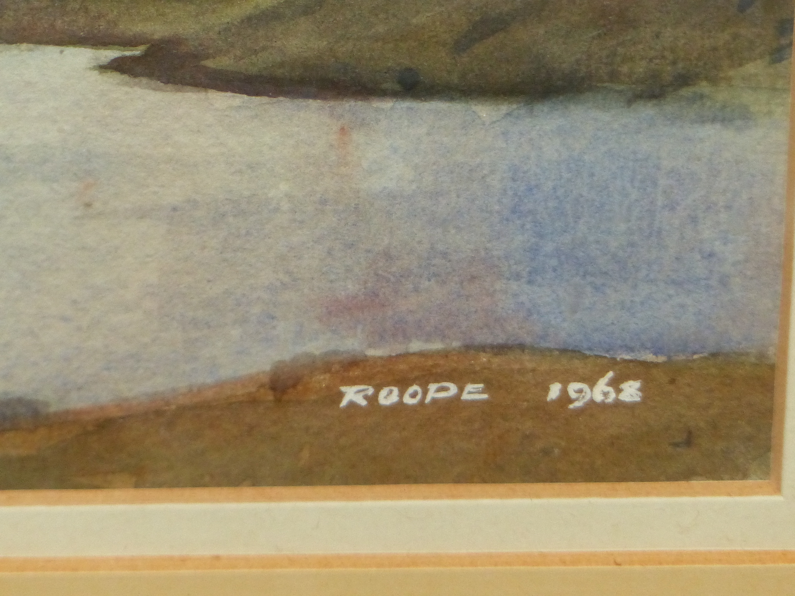 ROOPE? (20th CENTURY SCHOOL). A HIGHLAND LAKE LANDSCAPE, WATERCOLOUR, SIGNED AND DATED, 26 x 35cms. - Image 3 of 5