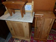 A PINE BEDSIDE CUPBOARD, A STOOL AND A MARBLE TOPPED TILE BACKED PINE WASHSTAND
