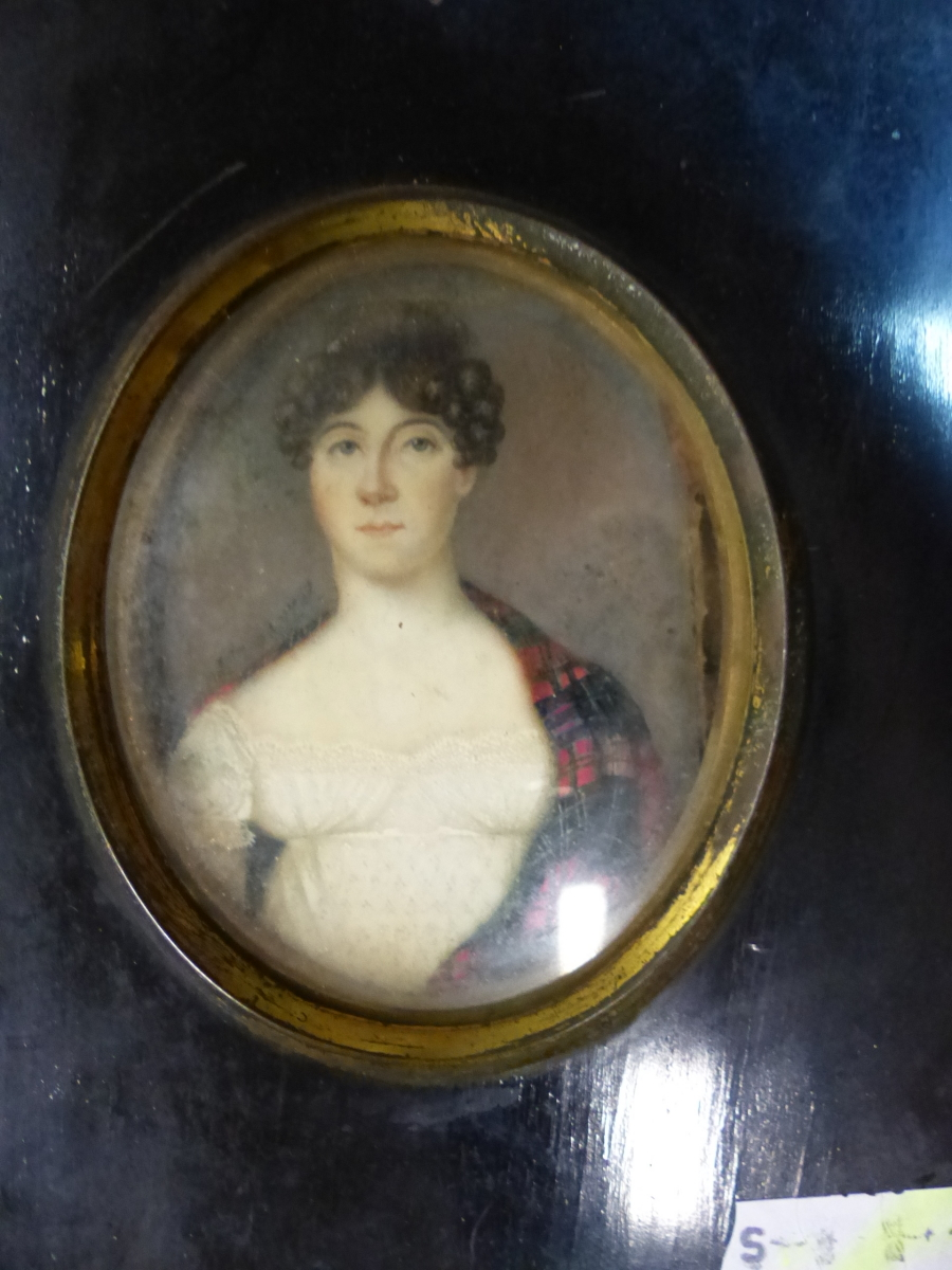 FOUR BLACK FRAMED PORTRAIT MINIATURES, ONE OF THE TWO PORTRAITS OF LADIES INSCRIBED ON THE BACK - Image 2 of 7