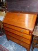 A VICTORIAN MAHOGANY BUREAU WITH FOUR GRADED DRAWERS AND BRACKET FEET. W 92 x D 51 x H 107cms.