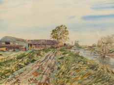 •RALPH HARTLEY (1926-1988) ARR. RURAL FARM BUILDINGS SIGNED WATERCOLOUR 55 x 77cm. TOGETHER WITH TWO