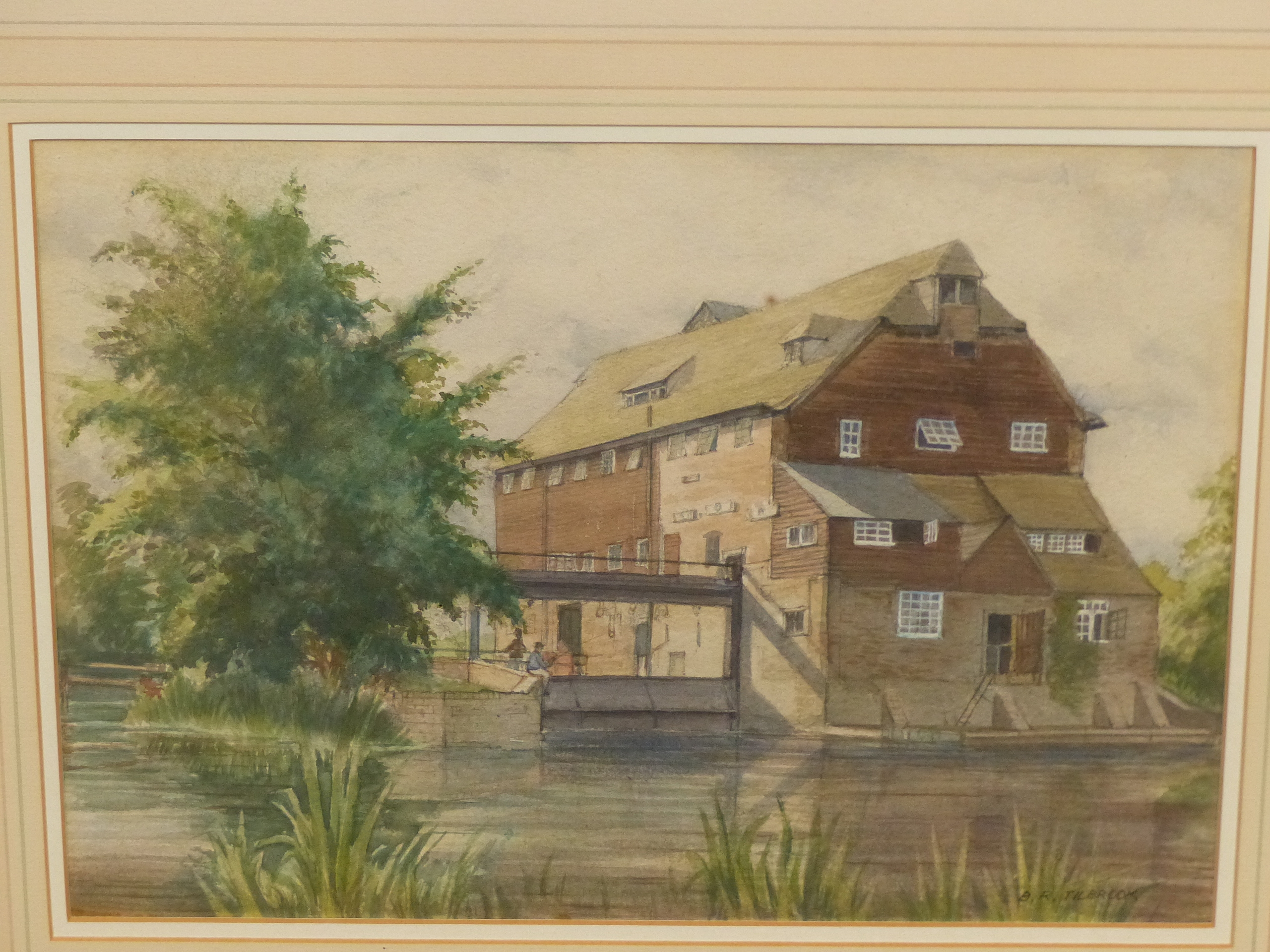 B.R TILBROOK (20th CENTURY SCHOOL). THE OLD MILL. SIGNED, WATERCOLOUR 23 x 32cms.