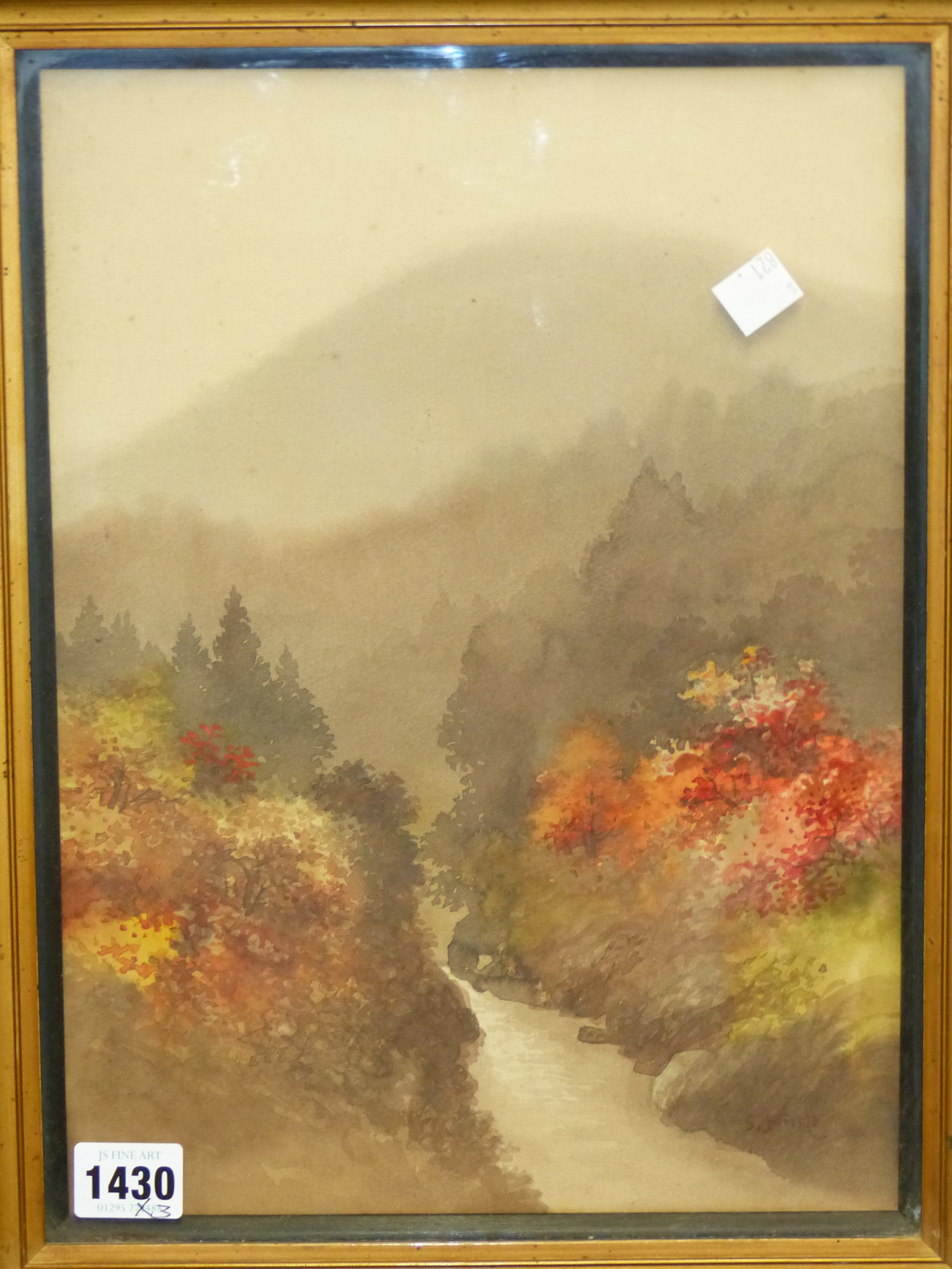 20th CENTURY JAPANESE SCHOOL. A WOODED RIVER VALLEY, SIGNED INDISTINCTLY. 33 x 24cms. TOGETHER