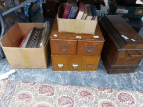 TWO FILE DRAWERS, A SEWING MACHINE, A QUANTITY OF SCRAP BOOKS, ETC.