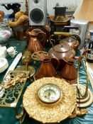 TWO VICTORIAN COPPER KETTLES, A STABLE LANTERN, SPIT JACK, TWO CLOCKS ETC.