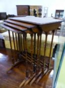 A NEST OF FOUR MAHOGANY WINE TABLES