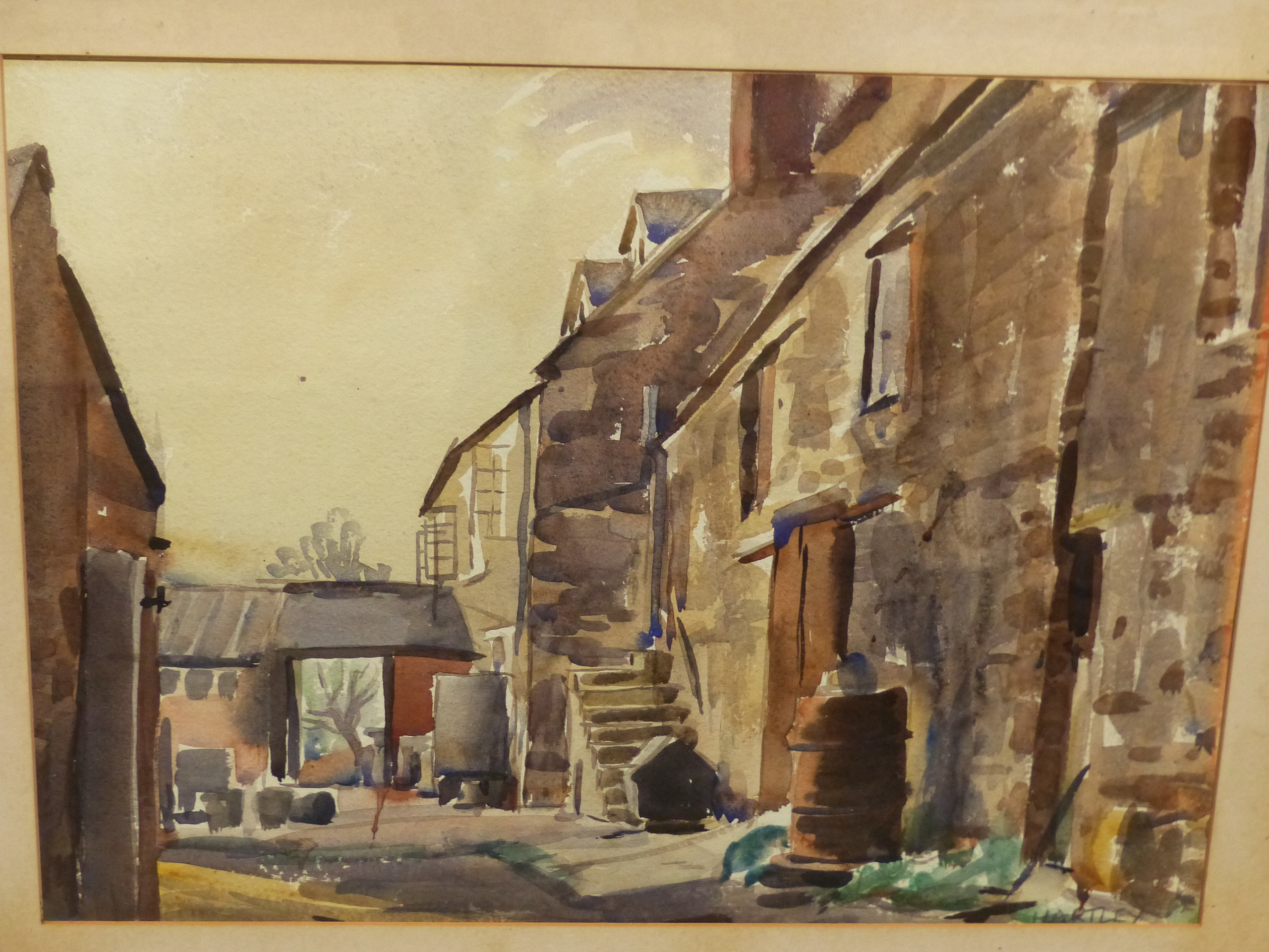 •RALPH HARTLEY (1926-1988) ARR. RURAL FARM BUILDINGS SIGNED WATERCOLOUR 55 x 77cm. TOGETHER WITH TWO - Image 7 of 11