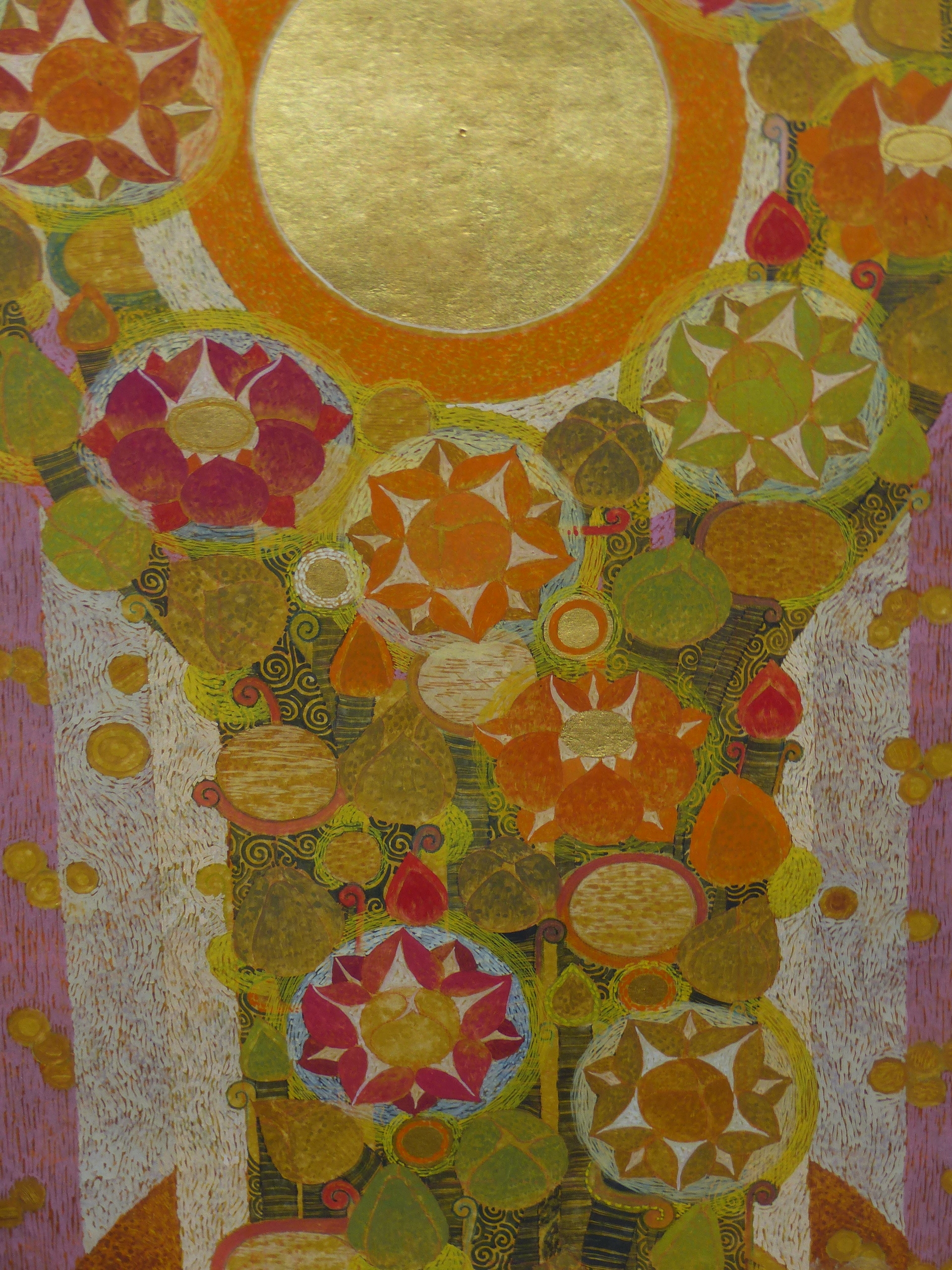 20th CENTURY EASTERN SCHOOL. A GEOMETRIC FLORAL ABSTRACTION WITH GILT HIGHLIGHTS AND WATERCOLOUR, - Image 3 of 8